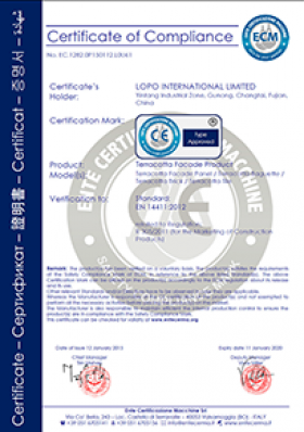 LOPO China Terracotta Facade Panel CE Certificate